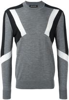 Neil Barrett geometric intarsia panelled jumper - men - Wool - L