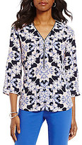 Preston & York Diana V-Neck Roll-Tab Sleeve Printed Blouse