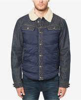 Buffalo David Bitton Men's Jivit Quilted Denim Jacket with Fleece Collar