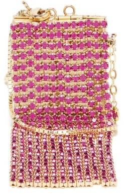 Rosantica Mini Crystal-tassel Picture-frame Necklace Bag - Pink Multi