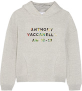 Anthony Vaccarello Appliquéd cotton-blend jersey hooded top