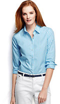 Lands' End Women's Petite Long Sleeve No Iron Shirt-Chilled Gray Print