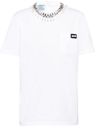 Prada crystal collar T-shirt