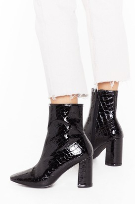 Nasty Gal Womens These Boots are Made Wide Fit Patent Boots - Black