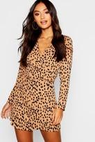 boohoo Petite Dalmatian Print Wrap Shift Dress