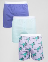 Asos Jersey Boxers With Dj Dinosaur Print 3 Pack Save