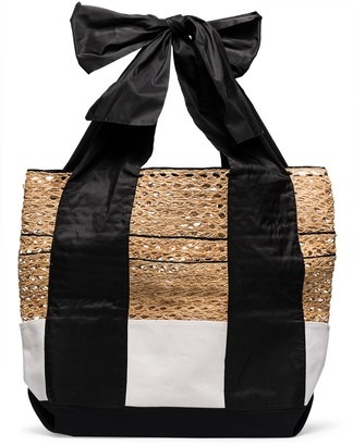 Rosie Assoulin Large Contrast Canvas Basket Tote