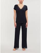 The White Company Lace Crossover stretch-jersey pyjama set