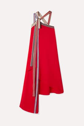 Monse Asymmetric Grosgrain-trimmed Crepe Midi Dress - Red