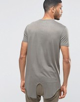 Asos Super Longline T-Shirt With Fishtail Hem In Drape Fabric