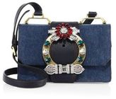 Miu Miu Lady Crystal-Buckle Denim Shoulder Bag