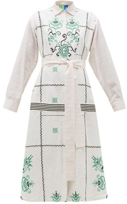 Rianna + Nina - Vintage Cross-stitch & Checked Cotton Shirt Dress - Womens - Multi