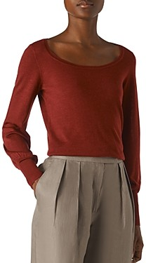 Whistles Fino Merino Wool Scoop Neck Sweater
