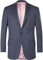 Richard James Blue Slim-Fit Checked Wool Suit Jacket