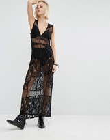 Religion Maxi Dress In Sheer Lace