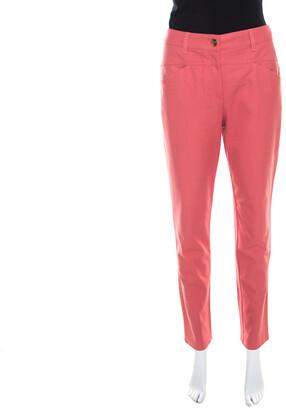 Escada Coral Pink Stretch Denim Teresa Straight Leg Jeans M