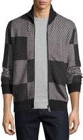 Burberry Patchwork Herringbone Front-Zip Sweater, Dark Gray Melange