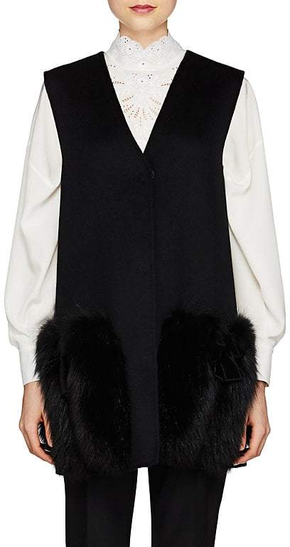 Fendi Women's Fur-Trimmed Wool Vest
