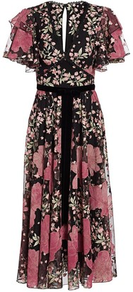 Marchesa Floral Flutter-Sleeve Dress
