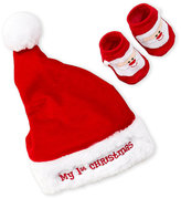Little Me Infants) Two-Piece My First Christmas Santa Hat & Booties Set