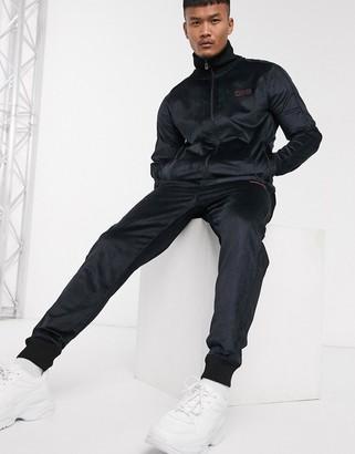 HUGO Dolme velour sweat jacket in black