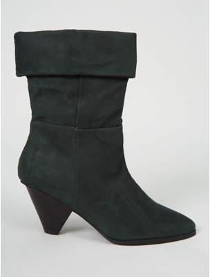 George Dark Green Suede Effect Cone Heel Cuffed Boots