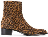 Saint Laurent Wyatt leopard print 40mm boots