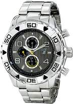 August Steiner Men's Rugged Power Multifunction Quartz Watch with Two-Tone Dial, Large Numerals and Stainless Steel Bracelet AS8130SSB
