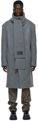 we11done Grey Wool Collarless Scarf Coat