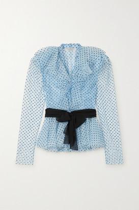 Philosophy di Lorenzo Serafini Belted Ruffled Flocked Lace Blouse - Light blue