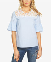 CeCe Cotton Lace-Trim Top