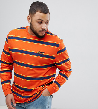 Asos DESIGN Plus relaxed long sleeve t-shirt with orange stripe and embroidery