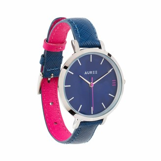 Auree Jewellery Montmartre Silver Watch With Royal Blue & Hot Pink Strap