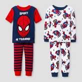 Spiderman Baby Boys' Snug Fit 4-Piece Cotton Pajama Set - Red