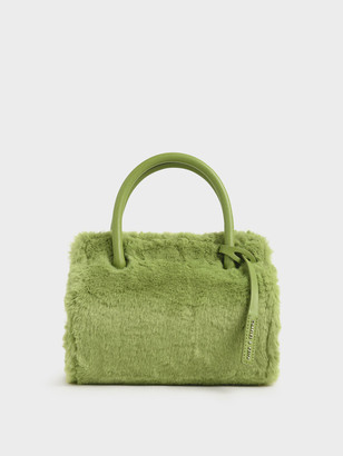 Charles & Keith Textured Double Top Handle Bag