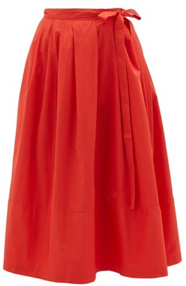 Thierry Colson Java Pleated Cotton Wrap Skirt - Red