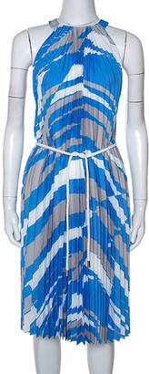 Max Mara Blue Plisse Belted Sleeveless Dress M