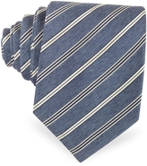 Forzieri Navy Blue & White Stripe Woven Silk Tie