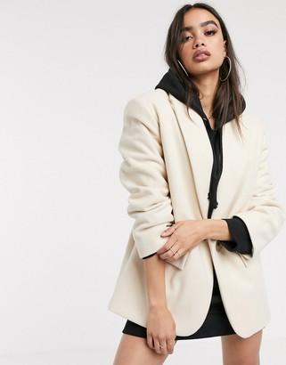 Asos Design DESIGN grandad coat in cream-Beige