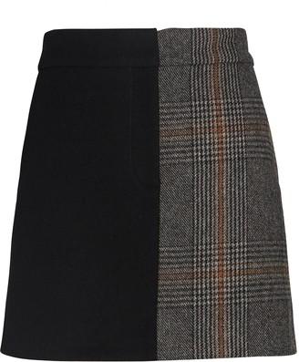 Tibi Mats Colorblock Mini Skirt