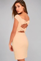 LuLu*s Bow-Getter Peach Off-the-Shoulder Bodycon Dress