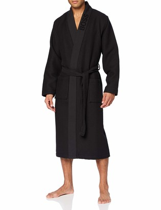 HUGO BOSS Mens Waffle Kimono Jacquard-Logo Dressing Gown in Waffle pique Dark Blue