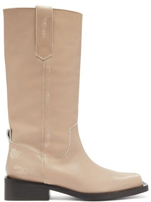 Ganni Mc Distressed Leather Western Boots - Womens - Cream