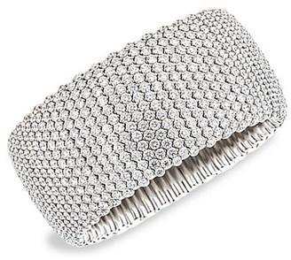 Zydo Stretch 18K White Gold & Diamond Wide Stretch Bracelet