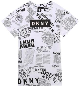 DKNY Newspaper Print T-Shirt Dress (6-16 Years)