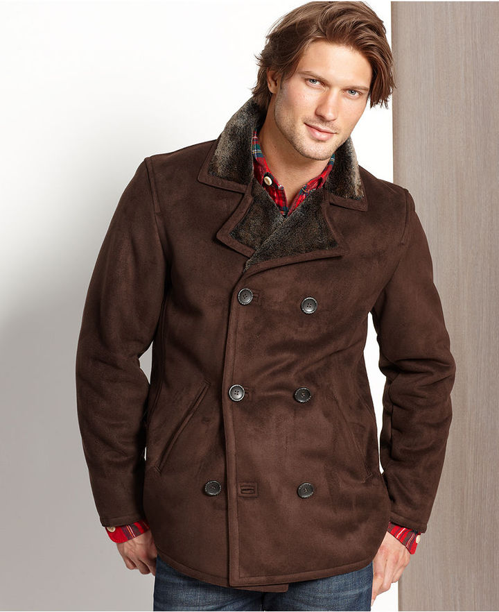 Nautica Coat, Faux-Shearling Lined Double-Breasted Coat