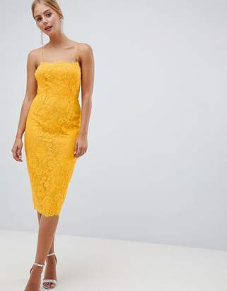 Asos Design DESIGN Square Neck Pencil Dress In Lace-Yellow