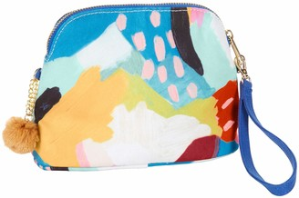 "C.R. Gibson Women's Multicolored Clutch with Gold Poms and Removable Blue Wrist Strap 7"" W x 5 1/2"" H x 3"" D"