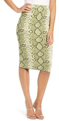 J.o.a. Snake Pattern Knit Pencil Skirt