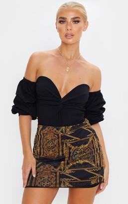 Ooh! La Oohla Black Woven Bardot Ruched Bodysuit